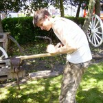 Wheelwright Phill Gregson showing off his skills on International Blacksmiths Day 2012. The Smithy was originally a blacksmith and wheelwrights shop.