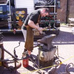 Jake the blacksmith brought his portable forge to do his demonstration. This is how Ellis (Elias) Hall, the last blacksmith to work at the Smithy made a living when demand for his work was waning - he drove out to farms and customers rather than them coming to the Smithy.