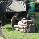 Paul the Groundskeeper in Home Guard uniform, protecting his turf from invasion