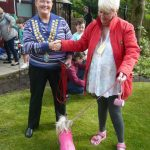 "Lily Belle, winner ""Waggiest Tail"", being given her prize by Cllr Anita Ashcroft"
